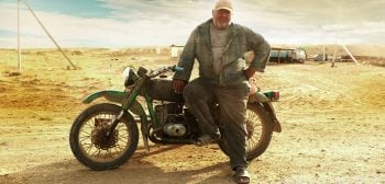 Central Asia steppe local Ural motorcycle