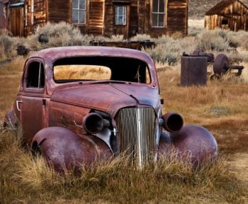 Old Frontier car wreck abandoned ghost town Bodie California